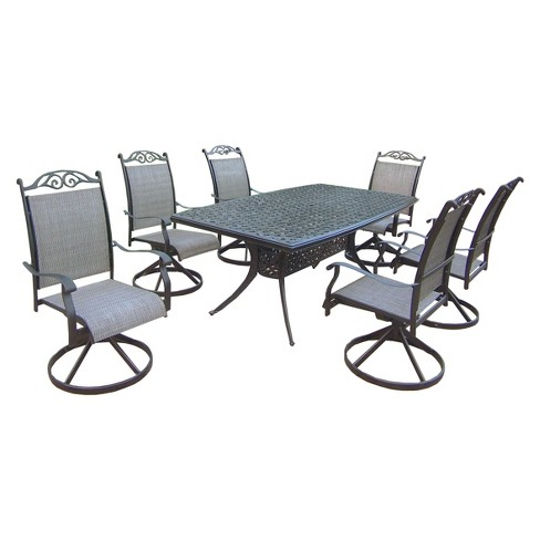 Patio Furniture Sets With Swivel Chairs.Cascade 7 Piece Aluminum Sling Swivel Rectangular Patio Dining Furniture Set