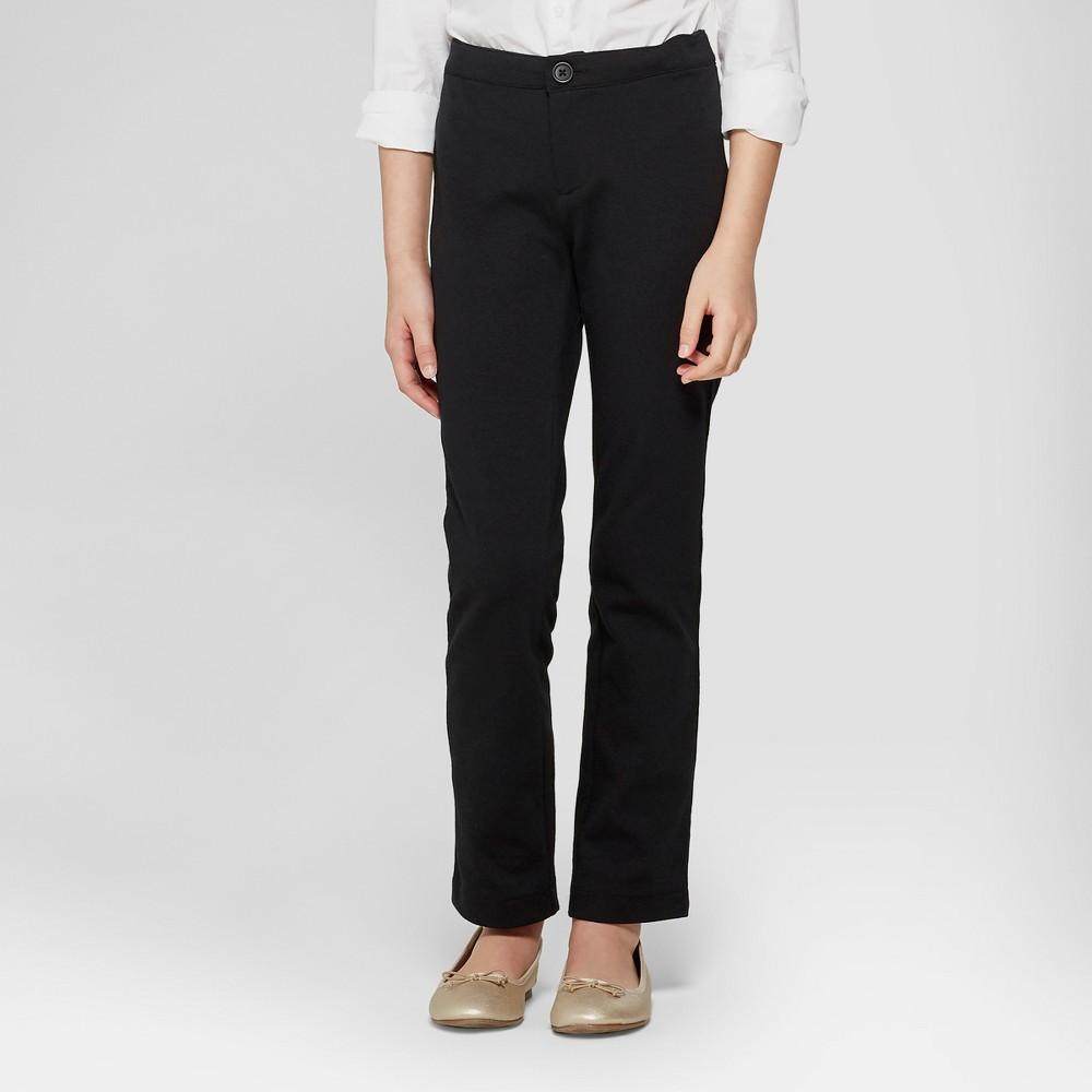 Girls' Skinny Ponte Uniform Trousers - Cat & Jack Black XL
