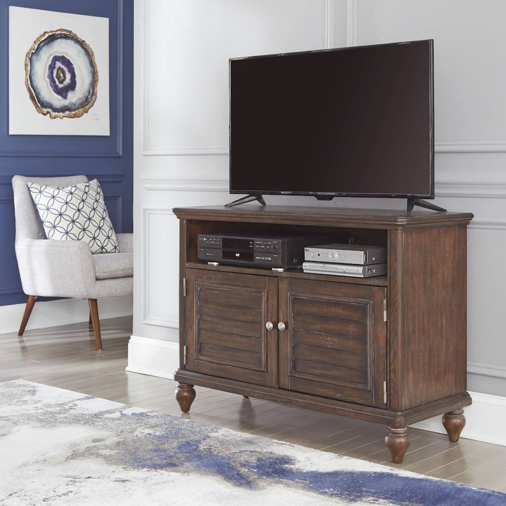 "Image of ""46"""" Southport Entertainment Stand Dark Aged Oak - Home Styles, Brown"""