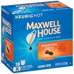 Maxwell House Cafe Collection Breakfast Blend Light Roast Coffee - Keurig K-Cup Pods - 18ct