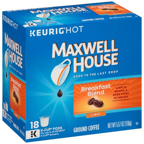 Maxwell House Cafe Collection Breakfast Blend Light Roast Coffee - Keurig K-Cup Pods - 18ct - image 1 of 3