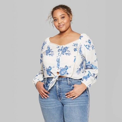 42463818ebe Women s Plus Size Floral Print Long Sleeve Tie Front Button-Up Blouse - Wild  Fable™ Ivory   Target