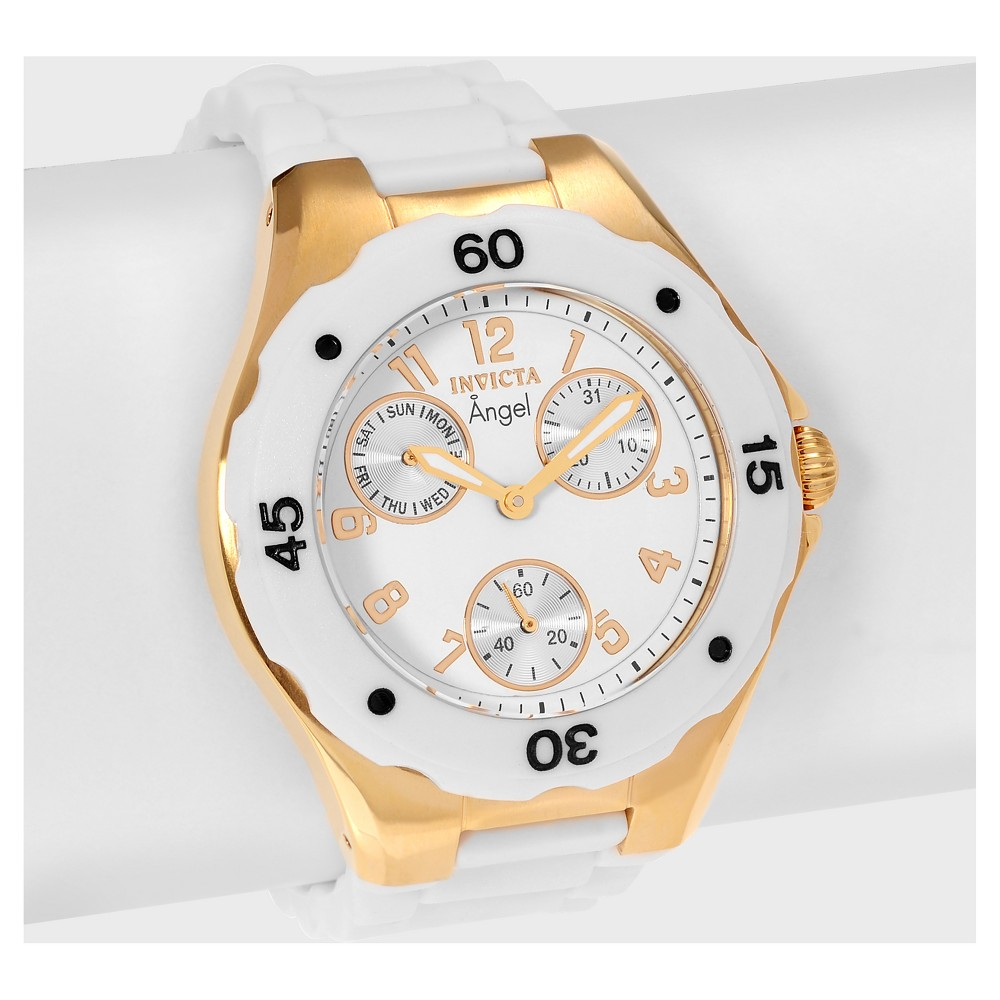 Women's Invicta Angel 0718 Stainless Steel Chronograph Dial Silicone Strap Watch - White/Gold