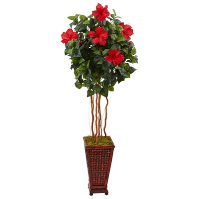 5ft Artificial Hibiscus Tree in Decorated Wooden Planter - Nearly Natural
