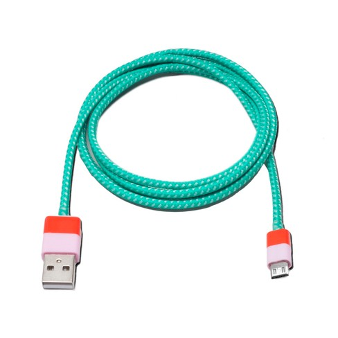 4ft Micro USB Cable Woven Green/Pink - Ashley Mary - image 1 of 1