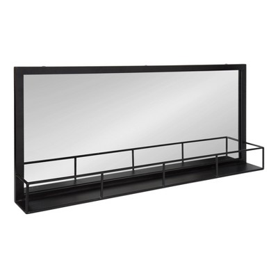 "40"" x 18"" Jackson Metal Frame Mirror with Shelf Black - Kate and Laurel"