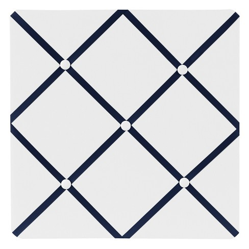 """Sweet Jojo Designs Photo Memo Board (13""""x13"""") - White & Navy Hotel - image 1 of 2"""