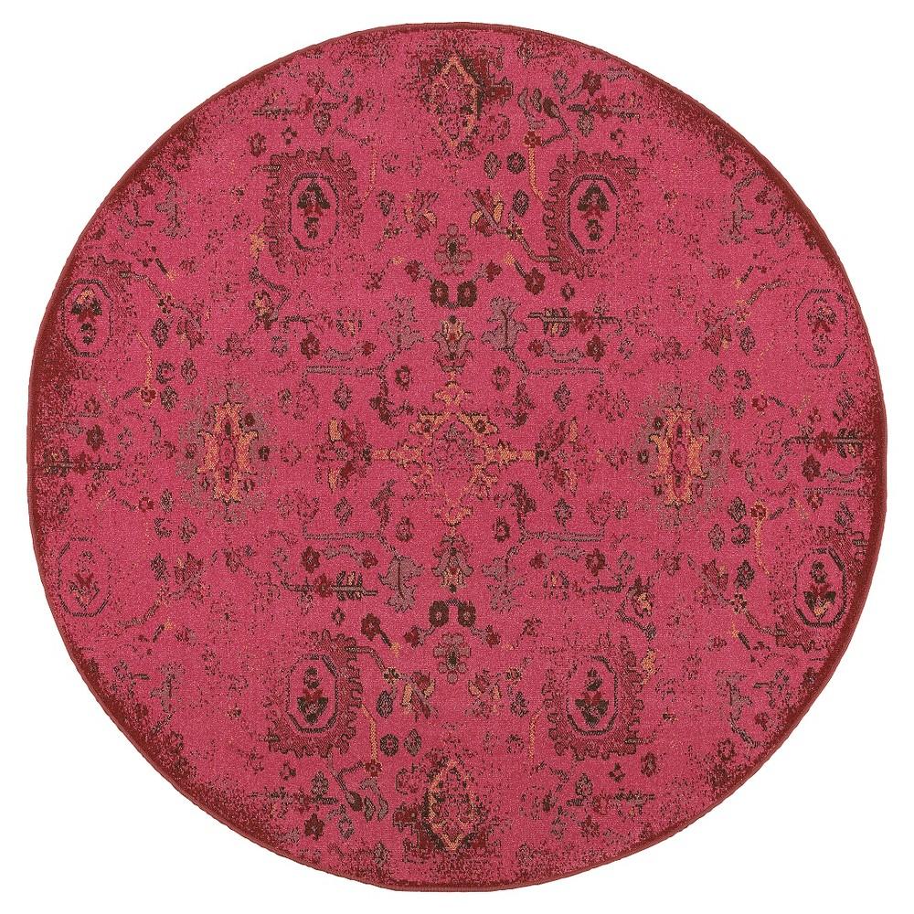 8' Ombre Design Round Area Rug Red