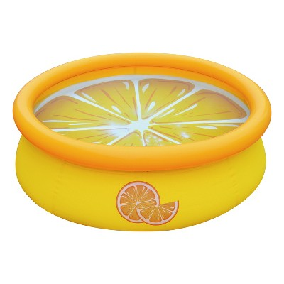 JLeisure Sun Club17789 5 Foot x 16.5 Inch 1 to 2 Person Capacity Orange 3D Above Ground Kid Inflatable Outdoor Backyard Swimming Pool, Yellow