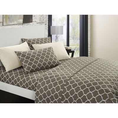 Chic Home Illusion 6 Piece Sheet Set Super Soft Contemporary Geometric Pattern Print Deep Pocket Design - Includes Flat & Fitted Sheets and Bonus Pillowcases, Taupe Queen
