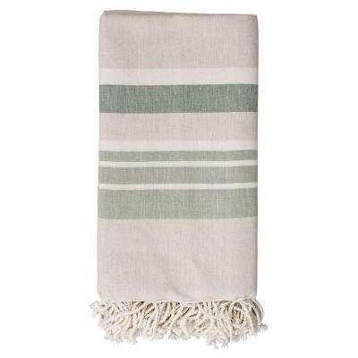 Cotton Throw Blanket - Beige with Green Stripes - 3R Studios