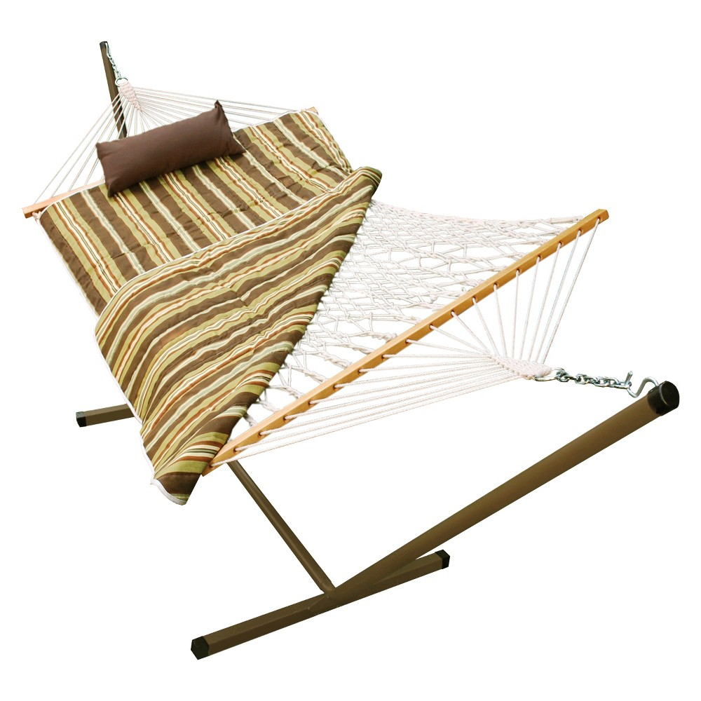 Outdoor Hammock and Stand Set - Beige/Brown/Off-White Stripe