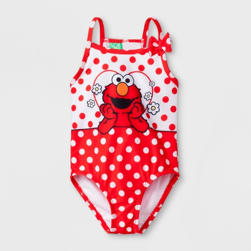 b811bcd1d2 Baby Girls' Sesame Street Elmo One Piece Swimsuit - Red 12M : Target