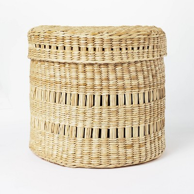 """11"""" x 9"""" Oval Decorative Lidded Open Weave Basket Natural - Threshold™ designed with Studio McGee"""