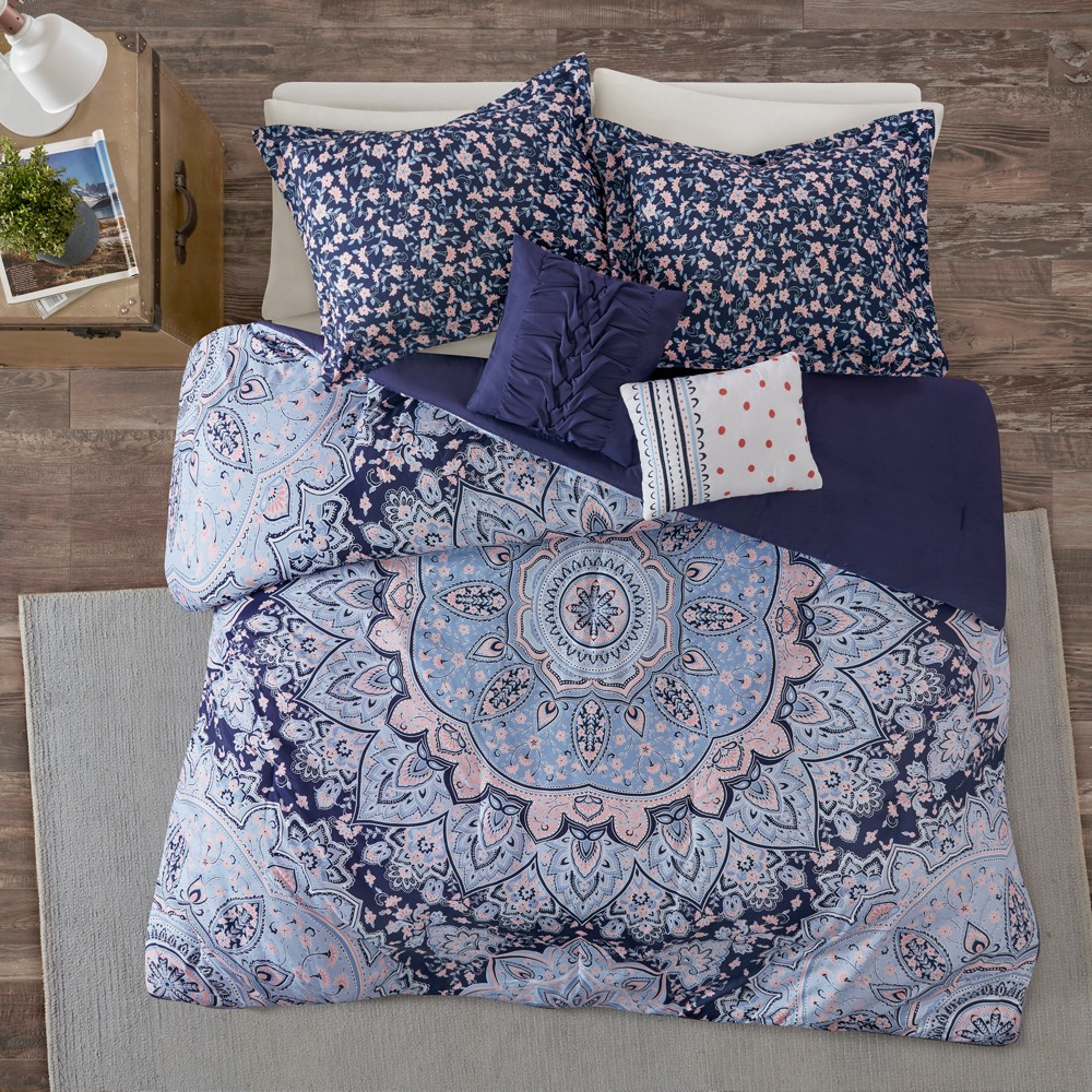 Image of 4pc Twin/Twin XL Willow Boho Comforter Set Blue
