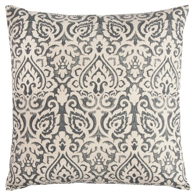 "22""x22"" Dulane Damask Throw Pillow Light Gray - Rizzy Home"