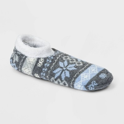 Women's Fair Isle Double Lined Cozy Booties with Grippers - A New Day™ Heather Gray/Blue 4-10