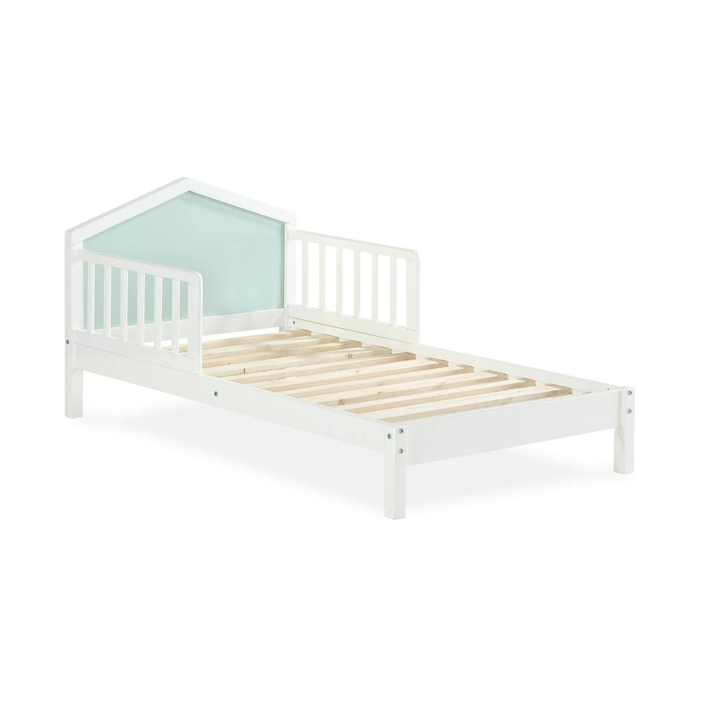 Image of Albie A-Frame Toddler Bed with Reversible Headboard White - Novogratz, Blue White