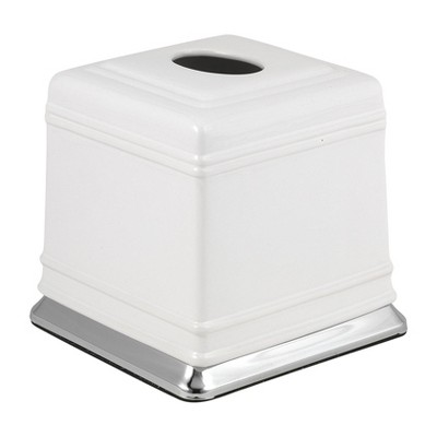 Isabella Tissue Box Cover White/Chrome - Popular Bath