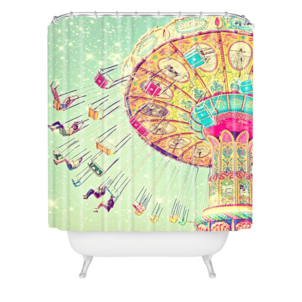 Shannon Clark Swinging Through Stars Shower Curtain Green - Deny Designs
