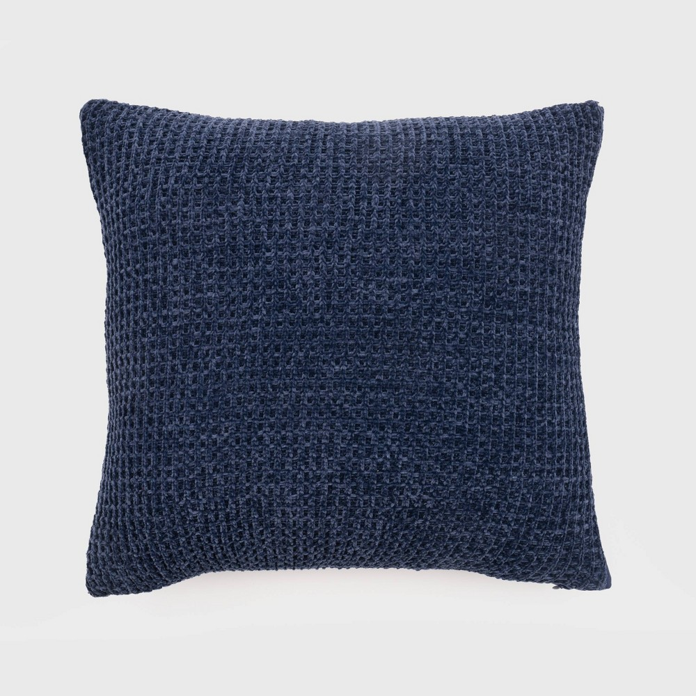 20 34 X20 34 Oversize Chenille Shiny Waffle Knit Square Throw Pillow Navy Evergrace