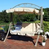 Deluxe 3-Seat Steel Frame Patio Swing with Cushions and Canopy - Beige - Sunnydaze Decor - image 4 of 4