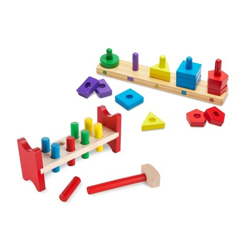 Melissa & Doug Classic Wooden Toy Bundle - Pound-A-Peg, Stack and Sort Board - image 1 of 3