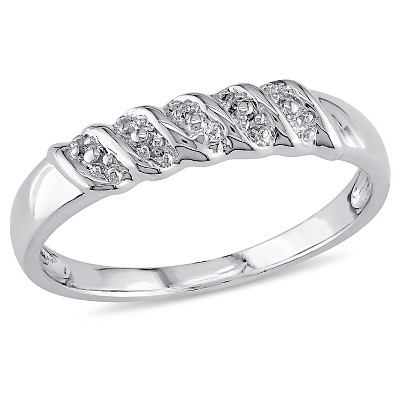 Diamond Illusion Wedding Band in Sterling Silver - (7)