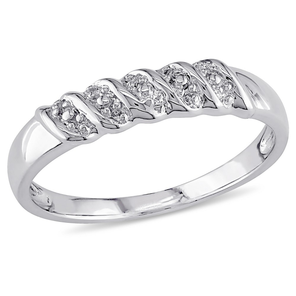 Diamond Illusion Wedding Band in Sterling Silver - (7), Size: 5