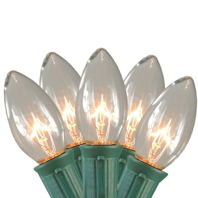 Northlight Set of 15 Clear Lighted Mighty Light C9 Shape Christmas Pathway Markers- Green Wire