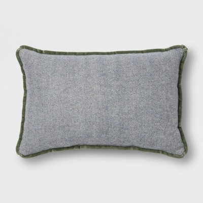 Velvet Piping Herringbone Lumbar Throw Pillow Blue Green - Threshold™