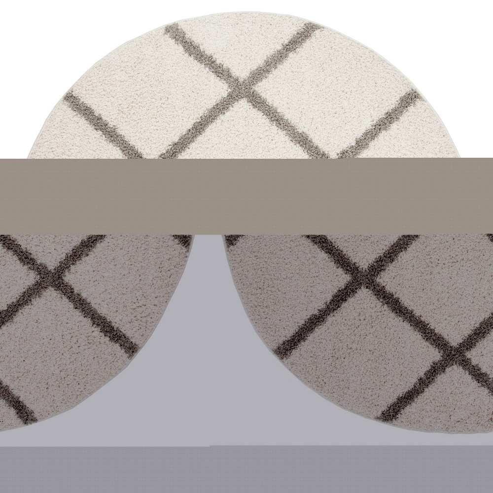 67 Young Geometric Loomed Round Area Rug Ivory/Gray - Safavieh Discounts