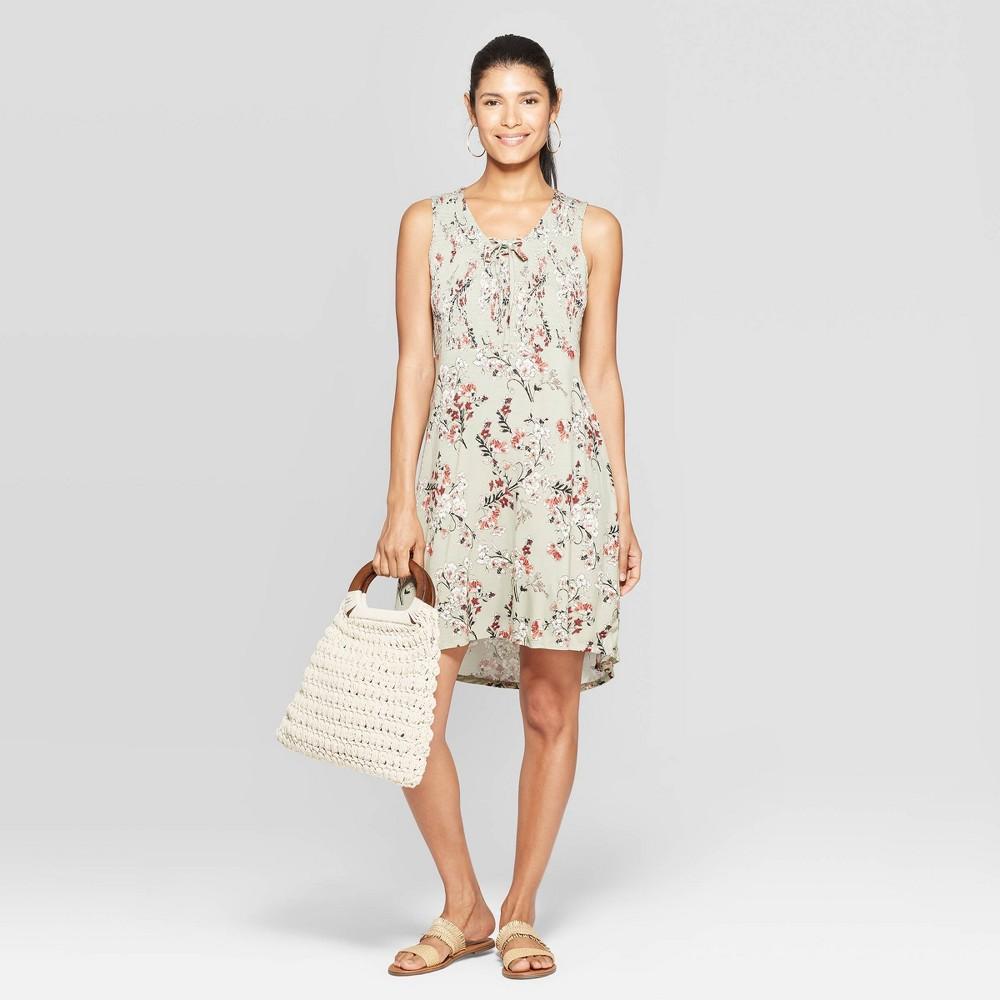 Women's Floral Print Sleeveless V-Neck Shift Midi Dress With Smocking - Knox Rose Green L