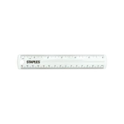 """Staples 6"""" Acrylic Ruler Clear (51907) 2772896"""