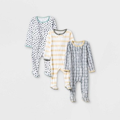 Baby Boys' 3pk Dotted Sleep N' Play - Cloud Island™ Yellow/Gray 0-3M