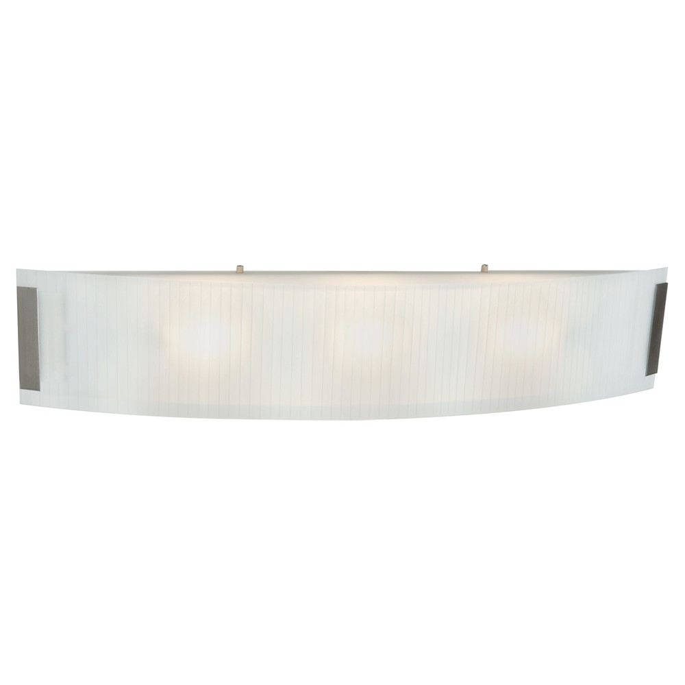 Neon Bath Light with Line Frosted Glass Shade - Brushed Steel (Silver) (32)