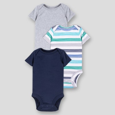 Lamaze Baby Boys' 3pk Striped and Solid Short Sleeve Bodysuit - Blue 3M