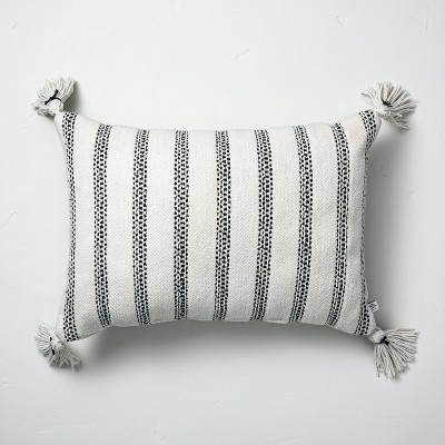 Vertical Texture Stripes Indoor/Outdoor Throw Pillow Black/White - Hearth & Hand™ with Magnolia