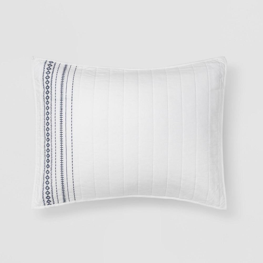 Standard Embroidered Chambray Quilt Sham White Blue Threshold 8482