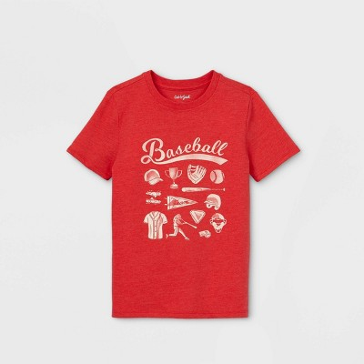 Boys' Short Sleeve Baseball Graphic T-Shirt - Cat & Jack™ Red