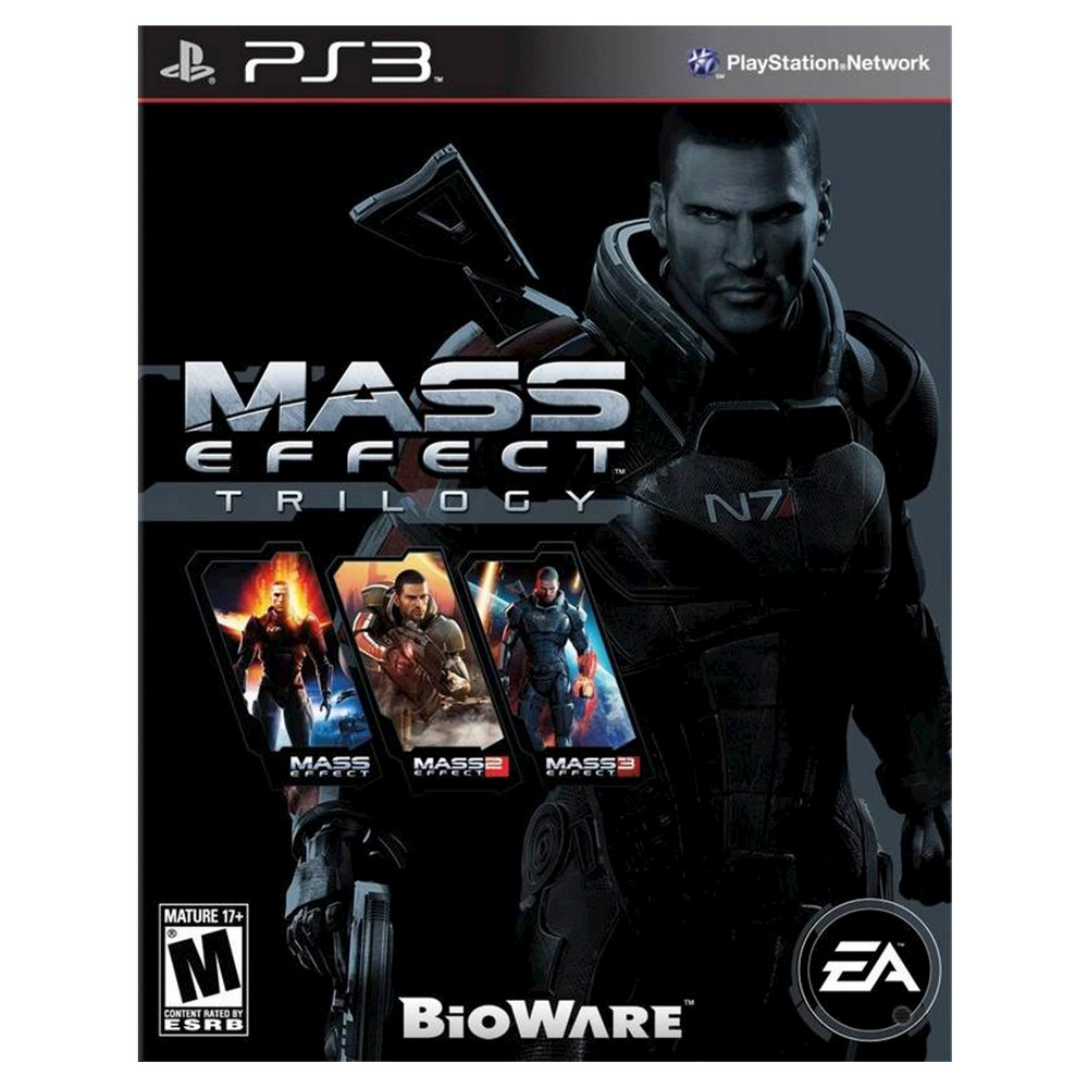 Mass Effect Trilogy PlayStation 3 Lead an army to stop an all-out war against the Reappears in Mass Effect Trilogy (PlayStation 3) - Electronic Arts. The game works for PlayStation 3 consoles. The shooter video game is recommended for ages 17 and up.