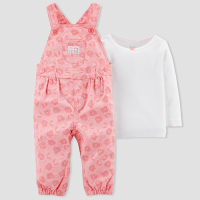 Baby Girls' 2pc Floral Overall Set - Just One You® made by carter's Pink 9M