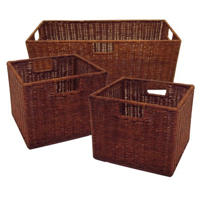 Set of 3 Leo Wired Baskets 1 Large and 2 Small Antique Walnut - Winsome