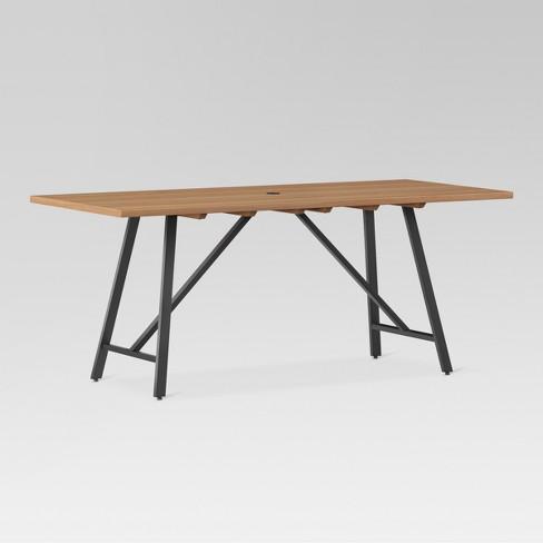Cadima Rectangle Eucalyptus Wood Patio Dining Table Natural - Outdoor wood rectangular dining table