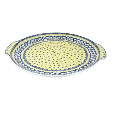 Blue Rose Polish Pottery Saffron Round Serving Tray with Handles
