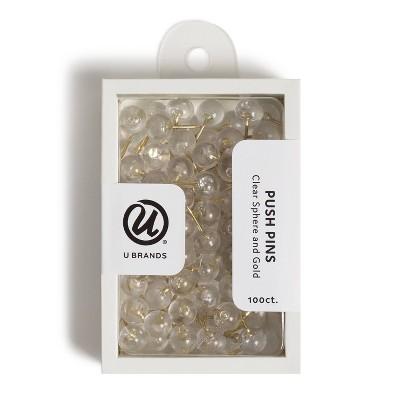 U Brands 100ct Push Pins - Clear