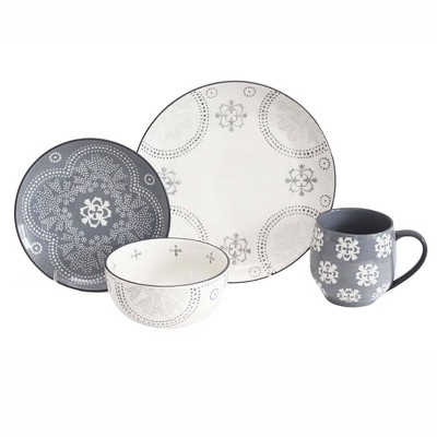16pc Stoneware Phara Dinnerware Set Gray - Baum Bros.