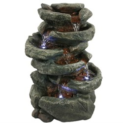 """15"""" Stone Falls 6-Tier Tabletop Water Fountain with LED Light - Sunnydaze Decor"""