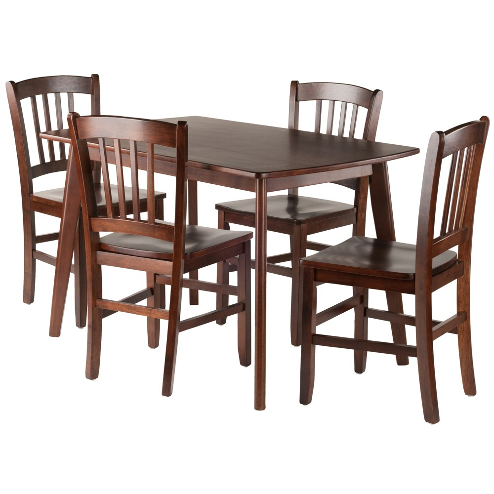 5pc Shaye Dining Table With Slat Back Chairs Walnut (Brown) - Winsome