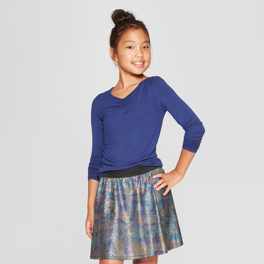 Girls' Long Sleeve Cinched Front T-Shirt - art class Blue L